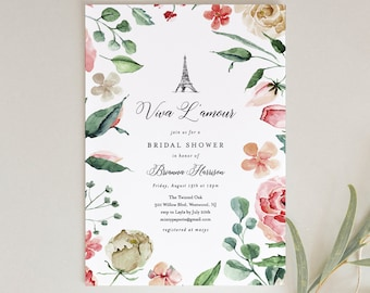 Paris Bridal Shower Invitation, Printable French Wedding Shower Invite, Eiffel Tower, Pink Rose, INSTANT DOWNLOAD, Editable Text #001-170BS