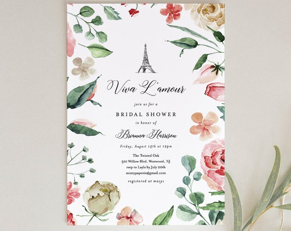 Paris Bridal Shower Invitation, Printable French Wedding Shower Invite, Eiffel Tower, Pink Rose, INSTANT DOWNLOAD, Editable Text #170BS