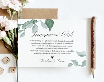 Greenery Honeymoon Wish Template, INSTANT DOWNLOAD, 100% Editable Text, Printable Honeymoon Fund Card, In Lieu of Gifts, Templett #019-118EC