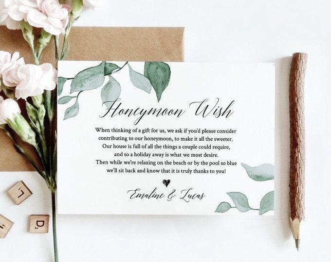 Greenery Honeymoon Wish Template, INSTANT DOWNLOAD, 100% Editable Text, Printable Honeymoon Fund Card, In Lieu of Gifts, Templett #019-118EC