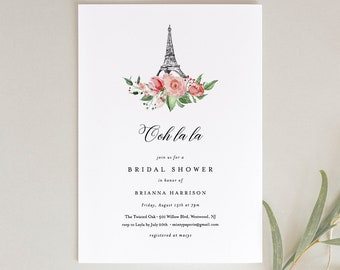 Paris Bridal Shower Invitation Template, Printable French Wedding Shower Invite, Eiffel Tower, INSTANT DOWNLOAD, Editable Text #001-171BS