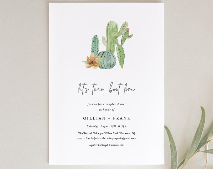 Fiesta Bridal Shower Invitation, Couples Shower Invite, Taco Bout Love, Cactus, Succulent, INSTANT DOWNLOAD, Editable Text, Printable #168BS