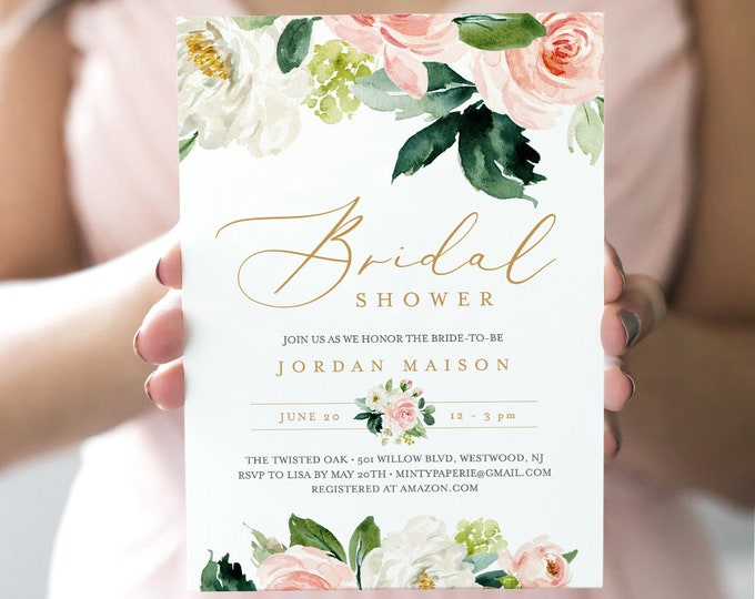 Bridal Shower Invitation, INSTANT DOWNLOAD, Printable Wedding Shower Invite, Self-Editing Template, Boho Floral Greenery, DIY #043-140BS