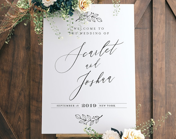 Welcome Sign Template, Instant Download, 100% Editable, Printable Wedding or Bridal Shower Poster, Modern, Clean, Templett, DIY #052-126LS