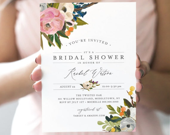 Floral Bridal Shower Invitation, INSTANT DOWNLOAD, Self-Editing Template, Printable Wedding Shower Invite, Boho, DIY, Templett #054-147BS