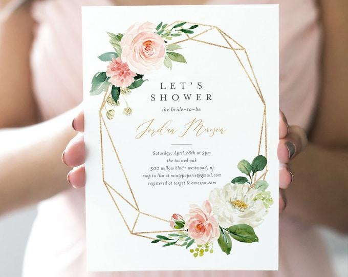 Bridal Shower Invitation, INSTANT DOWNLOAD, Printable Bridal Shower Invite, 100% Editable Template, Blush, Pink & Gold Floral  #043-130BS
