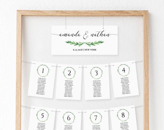 Wedding Seating Chart Template, Hanging Seating Cards, Seating Plan, Table Arrangement, Instant Download, Editable, Green Wreath #026-101HSC