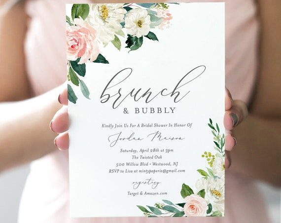 Brunch and Bubbly Bridal Shower Invitation Template, INSTANT DOWNLOAD, Printable Wedding Shower Invite, 100% Editable Text, Blush #043-134BS