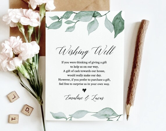 Wishing Well Template, INSTANT DOWNLOAD, Bridal Shower, Wedding Fund, 100% Editable Text, Boho Greenery, In Lieu of Gifts, DIY #019-117EC
