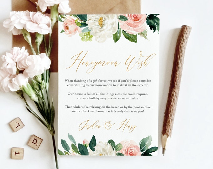 Honeymoon Wish Printable, INSTANT DOWNLOAD, Self-Editing Template, 100% Editable, Honeymoon Fund Card, Blush Florals & Greenery #043-114EC