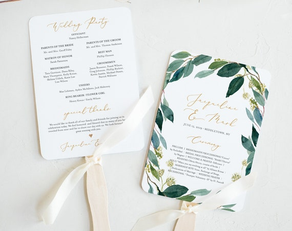 Fan or Flat Wedding Program Template, INSTANT DOWNLOAD, Printable Order of Service, 100% Editable, Watercolor Greenery, DIY #044-408WP