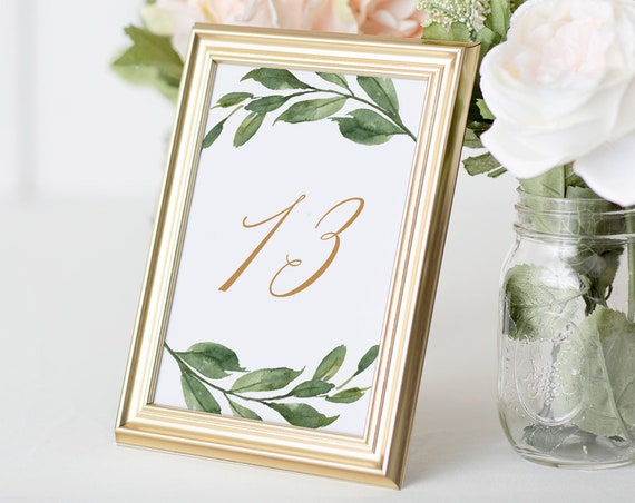 Table Number Template, Boho Greenery Wedding Table Card Printable, INSTANT DOWNLOAD, 100% Editable Text, Templett, 4x6 and 5x7  #067-131TC