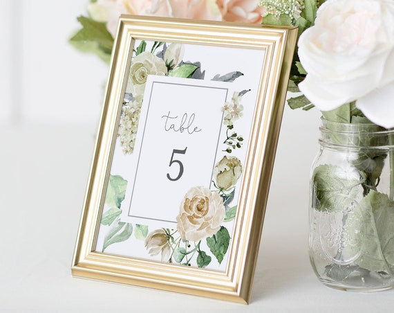 Wedding Table Number Template, Printable Cream Rose Boho Table Card, INSTANT DOWNLOAD, 100% Editable Text, Templett, 4x6 & 5x7  #057-128TC