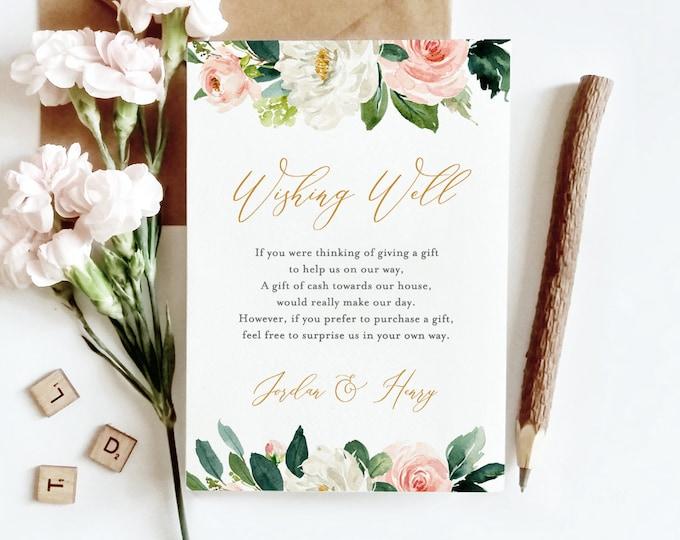Wishing Well Wedding Insert, Bridal Shower, INSTANT DOWNLOAD, 100% Editable Template, Wedding Fund, Blush Florals & Greenery, DIY #043-115EC