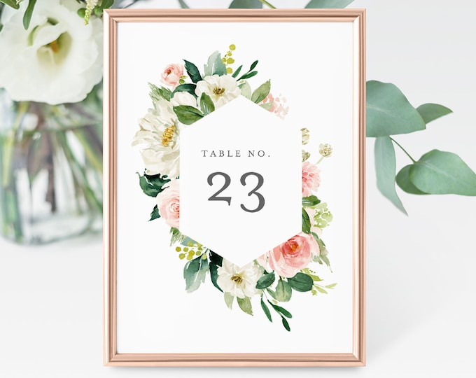 Printable Table Number Card, Wedding Table Number, INSTANT DOWNLOAD, 100% Editable Template, Blush Florals, Greenery, Boho  #043-121TC