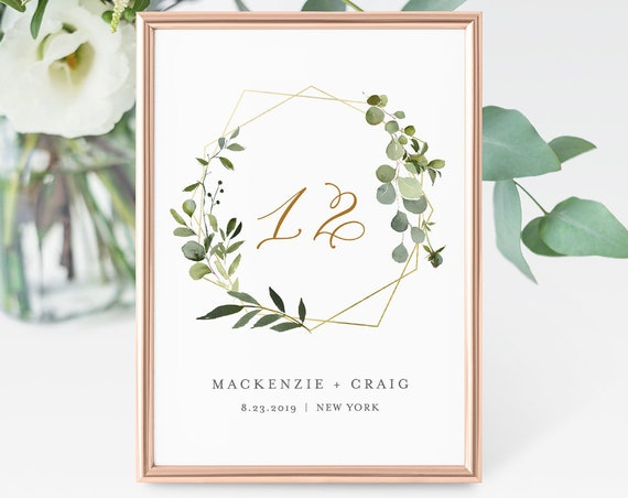 Greenery Table Number Card, Wedding Table Number, INSTANT DOWNLOAD, 100% Editable Template, Gold Frame, Wreath, Wedding Decor  #056-129TC
