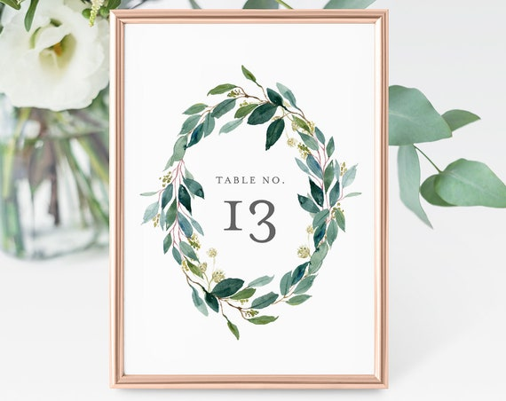 Table Number Card Template, Printable Greenery Wreath Wedding Table Number, INSTANT DOWNLOAD, 100% Editable, Boho Wedding Decor  #044-122TC