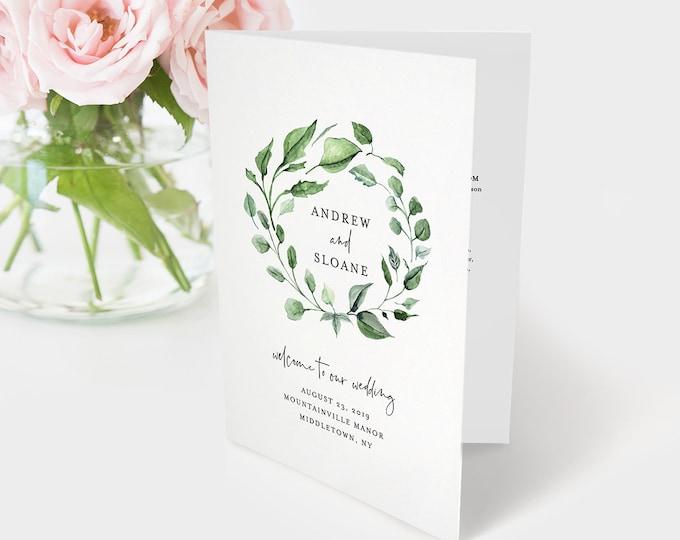 Wedding Program Template, Order of Service, Catholic Ceremony, INSTANT DOWNLOAD, 100% Editable Text, Printable Bi-fold Program  #059-125WP