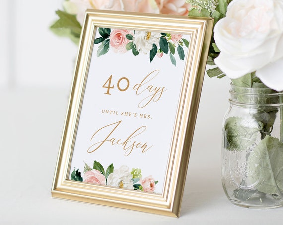 Bridal Shower Countdown Sign Template, Days Until I Do Sign, Instant Download, 100% Editable Text, Printable, DIY, 5x7 & 8x10  #043-102BSS