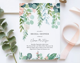 Bridal Shower Invitation Template, Printable Mint Wedding Shower Invite, Lush Garden, 100% Editable Text, Instant Download, DIY #068A-186BS