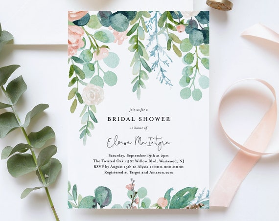 Bridal Shower Invitation Template, Printable Mint Wedding Shower Invite, Lush Garden, 100% Editable Text, Instant Download, DIY #068-186BS