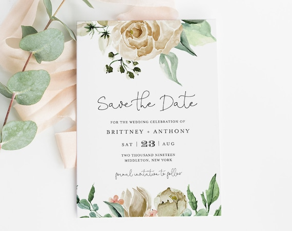 Save the Date Template, Instant Download, 100% Editable Text, Printable, Watercolor Cream Rose Greenery, Templett, DIY, 4x6 & 5x7 #057-132SD