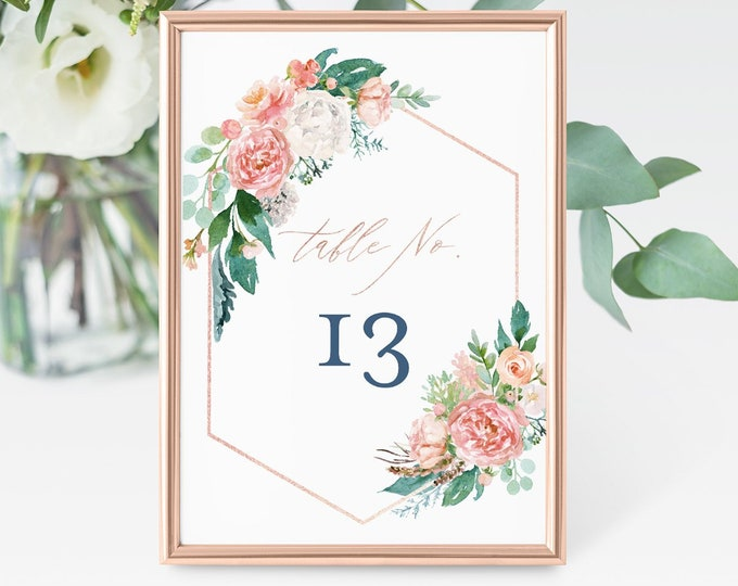 Wedding Table Numbers, Printable Blush, Navy & Rose Gold Table Card, INSTANT DOWNLOAD, Editable Template, Templett, 4x6 and 5x7  #069-133TC