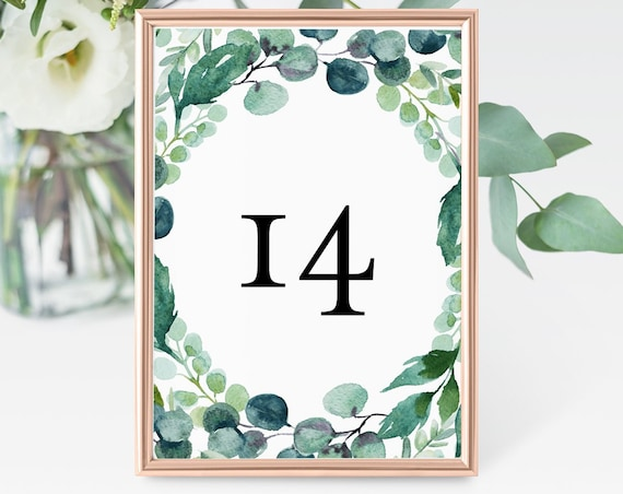Garden Table Numbers, Printable Boho Wedding Table Card, Greenery, INSTANT DOWNLOAD, Editable Template, Templett, 4x6 and 5x7  #068-134TC