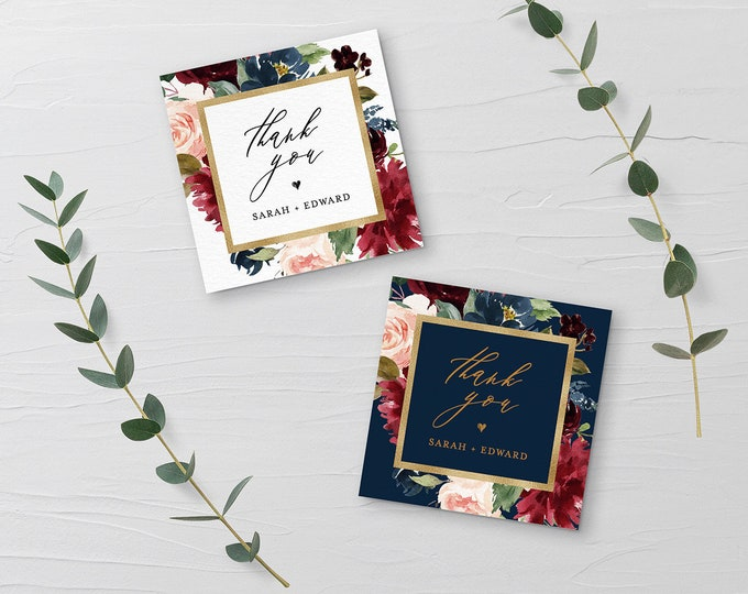 Favor Tag Template, Printable Wedding or Bridal Shower Thank You Tag / Label, Merlot Boho Floral, Instant Download, Editable Text #062-112SF