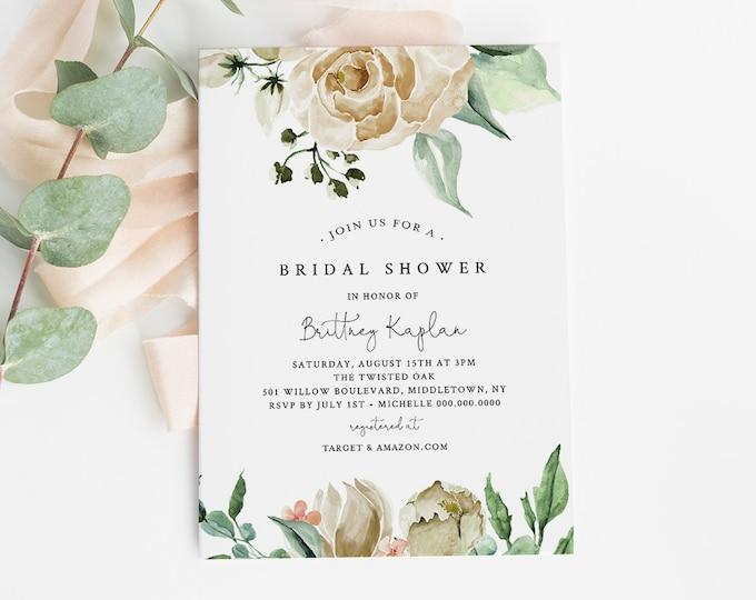 Bridal Shower Invitation Printable, INSTANT DOWNLOAD, 100% Editable Text, Wedding Shower Invite Template, Cream Roses, Templett #057-156BS