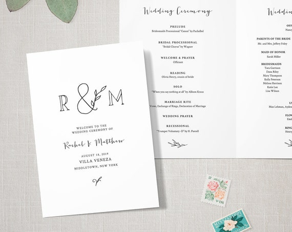 Rustic Wedding Program Template, INSTANT DOWNLOAD, Order of Service, Folded Ceremony Program, 100% Editable, Kraft, Monogram  #042-120WP