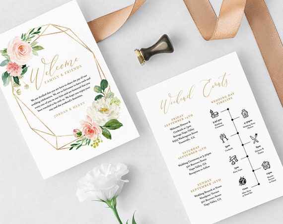 Wedding Timeline, Welcome Bag Note & Itinerary Template, Order of Events, INSTANT DOWNLOAD, 100% Editable, Boho Floral Greenery #043-112WB