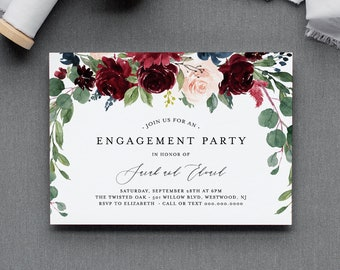 Boho Engagement Party Invitation Template, Engaged Announcement Printable, INSTANT DOWNLOAD, 100% Editable Text, Merlot Floral #062-122EP