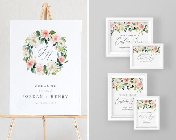 Wedding Sign Bundle, Poster and Tabletop Sizes, Instant Download, 100% Editable Text, Create and Design Unlimited Signs, DIY #043-WSB