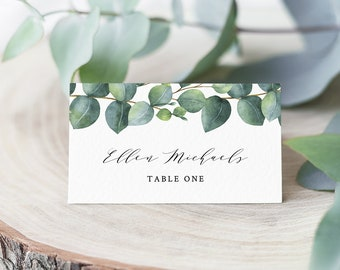 Eucalyptus Place Card Template, INSTANT DOWNLOAD, Printable Wedding Escort Card, Name Card, Greenery Seating Card, 100% Editable #036-115PC