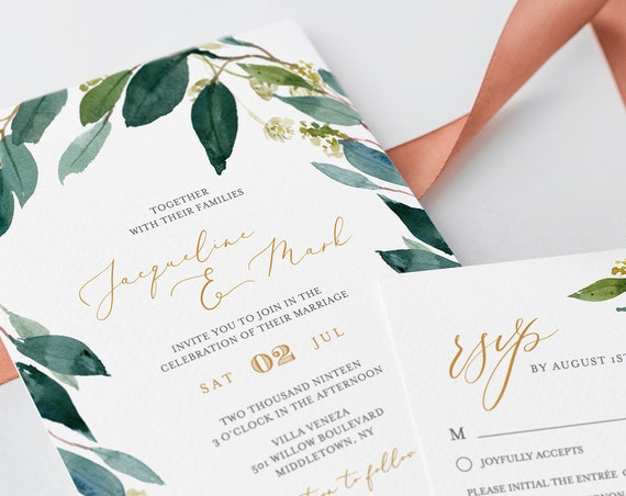 Self-Editing Wedding Templates, 100% Editable, INSTANT DOWNLOAD, Printable, Boho Greenery Foliage, Invitation, RSVP & Detail, Templett #044B