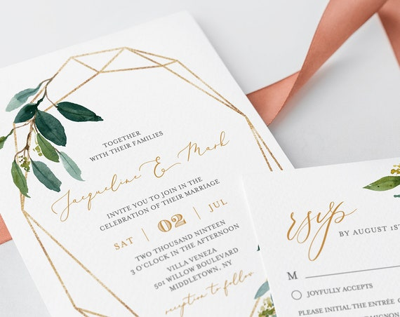 Greenery Wedding Invitation Set, 100% Editable, INSTANT DOWNLOAD, Printable, Self-Editing Template, Boho Foliage & Gold, Templett DIY #044A