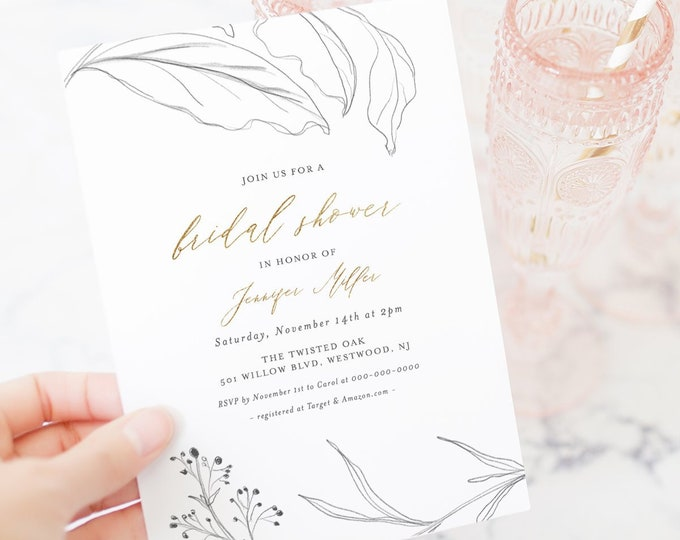 Bridal Shower Invitation Template, Rustic Glam, Printable Hand Sketch Wedding Shower Invite, 100% Editable Text, Instant Download #074-208BS