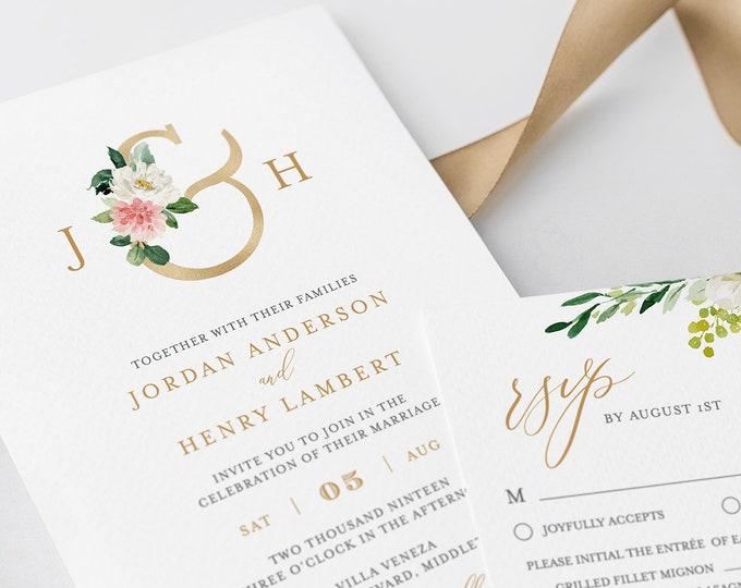 Boho Wedding Invitation Suite, Wedding Monogram, Blush Florals, Greenery and Gold, INSTANT DOWNLOAD, Editable Text, Templett, DIY #043C