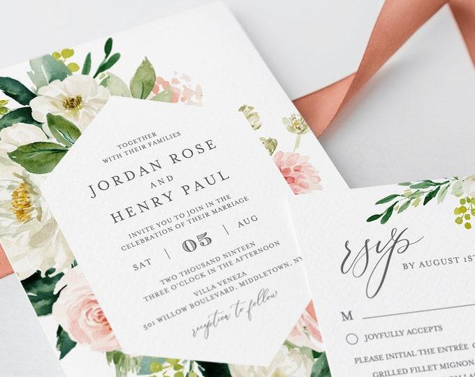 INSTANT DOWNLOAD, Floral Wedding Invitation Set, 100% Editable, Printable, Self-Editing Template, Greenery, Boho, Vintage, Templett #043B