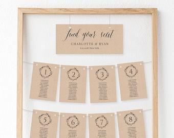 Wedding Seating Chart Template, Seating Plan, Table Card, 100% Editable, DIY, Printable, Instant Download, Rustic Kraft Wedding #010-102SP
