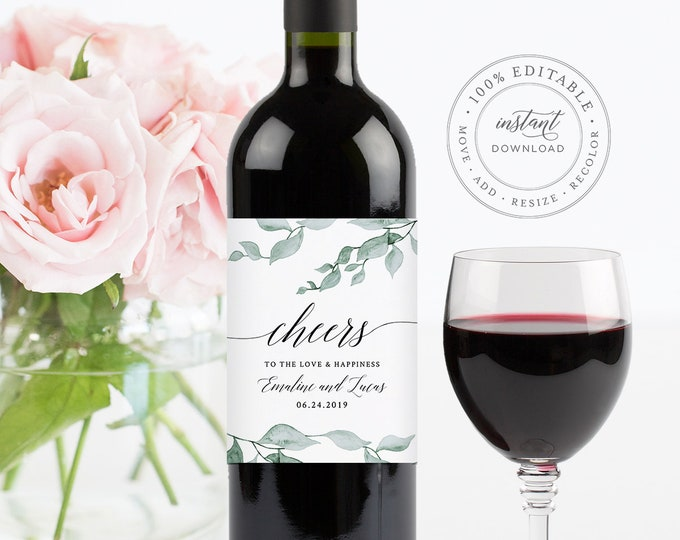 Wedding Wine Label Template, Printable Wine Bottle Sticker, INSTANT DOWNLOAD, Fully Editable, Watercolor Greenery, DIY, Templett #019-105WL