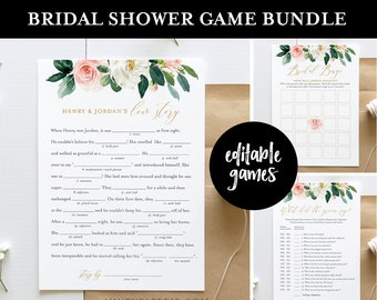 Bridal Shower Game Bundle, Editable Games, Instant Download, Customize Name & Questions, Printable Wedding Shower Game Template, DIY #043BGB