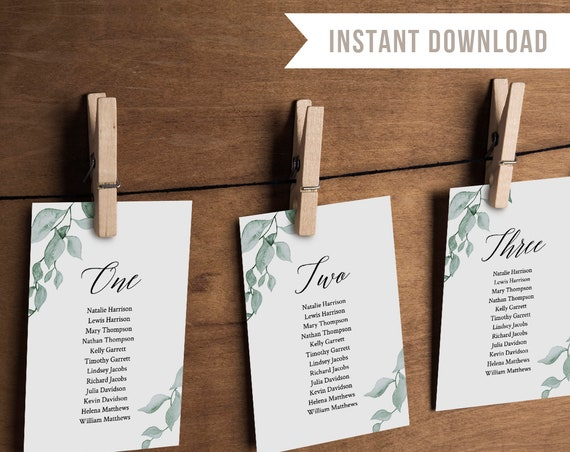 Wedding Seating Chart Template, Hanging Seating Cards, Seating Plan, Watercolor Greenery, Instant Download, Editable, Templett #019-107SP
