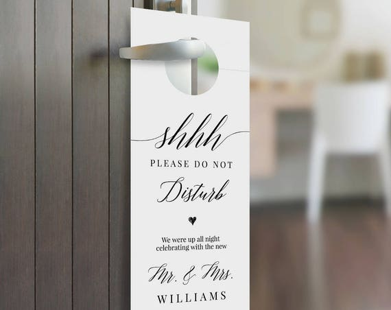 Door Hanger Template, Wedding Welcome Letter / Note, Printable Do Not Disturb Door Tag, 100% Editable, Instant Download, Templett 034-101DH