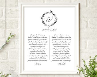 His And Her Wedding Vow Template Personalized Vow Booklet Etsy
