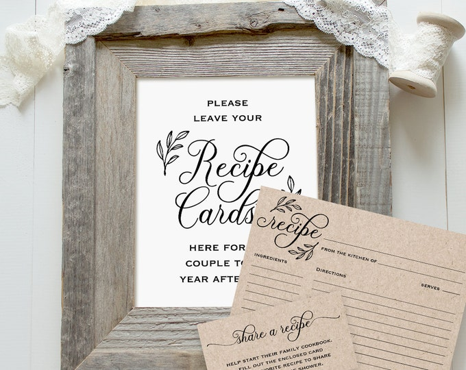 Recipe Card Set, Printable Recipe Card, Sign and Instruction Card Templates, Rustic Bridal Shower, Instant Download, Digital PDF #027-101RC