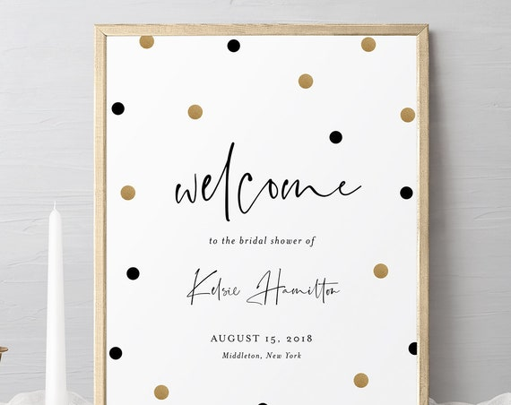 Bridal Shower Welcome Sign Template, Black and Gold Polka Dots Welcome Poster, 100% Editable Text, Instant Download, Templett #066-135LS