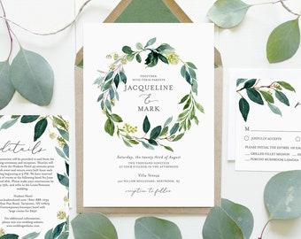 Greenery Wedding Invitation Set, 100% Editable Text, INSTANT DOWNLOAD, Printable, Self-Editing Template, Boho Wreath, Templett DIY #044C