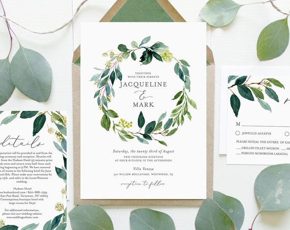 Greenery Wedding Invitation Set, 100% Editable Text, INSTANT DOWNLOAD, Printable, Self-Editing Template, Boho Wreath, Templett DIY #044C
